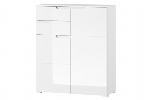 Santino White High Gloss Tall 2 Door Sideboard S7 - 2923